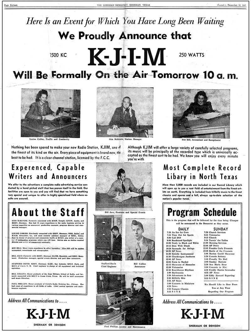 1947 newspaper ad announcing 1500 AM